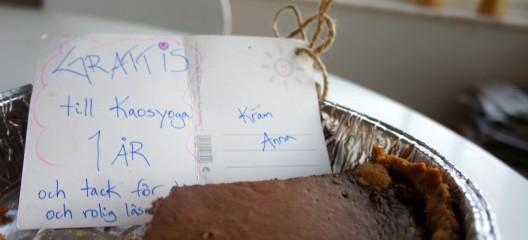 Det är inte alla bloggar som får chokladcheesecake på bemärkelsedagen
